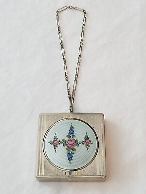 Antique Art Deco Etched Silver Tone Guilloche Enamel Square Compact with Chain