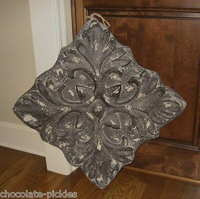 Embossed METAL MEDALLION Wall Art*Antique Black*Primitive/French Country Decor
