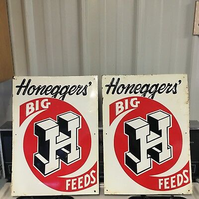 Honeggers' Big H Feeds embossed sign NOS - (2 signs)