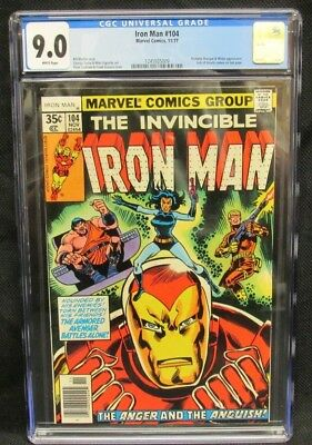 Iron Man #104 (1977) Marvel Bronze Age Jack of Hearts CGC 9.0 White Pages K519