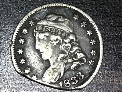 1833 Capped Bust Half Dime with cut or clipped planchet
