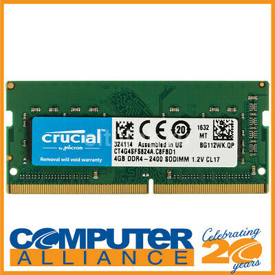 SODIMM DDR4 4GB 2400MHz Crucial RAM for Notebooks PN CT4G4SFS824A