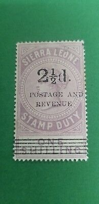 1897 Sierra Leone QV Postage Sc#59A A6(f) 2.5p on 1sh Lilac  OG unused VLH