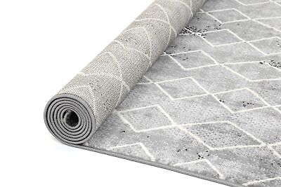 VALLERIE GREY SCANDINAVIAN DIAMOND DESIGN MODERN RUG RUNNER 80x300cm **NEW**