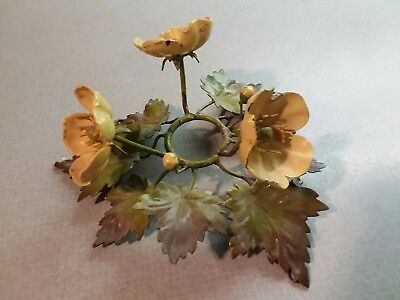 Vintage Flowers Toleware Tole Toile Metal Candle Holder Ring Light Fixture Italy