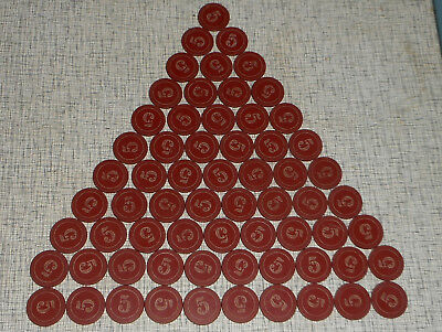 LOT of 65 Vintage Clay Casino Poker Chips Red Scroll Engraved Numeral Number 5