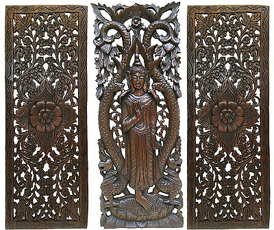 FLORAL MOTIF WITH Buddha Wall Art Panel. Large Carved Wood Decor ...