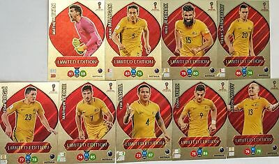 2018 Panini FIFA World Cup Adrenalyn XL LIMITED EDITION AUSTRALIA 9 CARDS SET