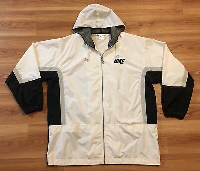 VINTAGE 90 S NIKE Windbreaker Jacket Large Long Swoosh Spell Out White  Black -  35.00  76773cabc