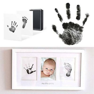 Photo-Frame Kit Baby-Newborn Handprint and Footprint with Clean Ink Pad Black