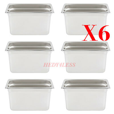 """6SET 1/4 Size NSF 4.5 Qt. Stainless Steel Steam Table / Hotel Pan - 6"""" Deep"""