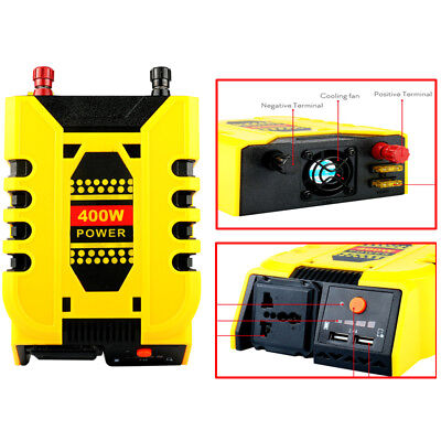 400W Car Inverter DC 12V To AC 220V Converter 5V/2.4A Dual USB Charger Outlet