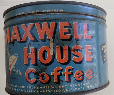 Vintage Maxwell House Coffee Tin Can One Pound Regular Grind - Vita Fresh Vacuum