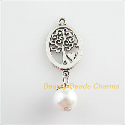 8Pcs Tibetan Silver Tone White Glass Round Beads Oval Tree Charm Pendant 13x35mm