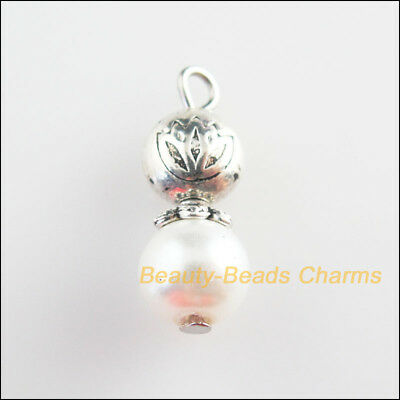 4Pcs Tibetan Silver Tone White Glass Round Beads Lotus Charms Pendants 8x21mm