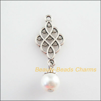 8Pcs Tibetan Silver Tone White Glass Round Beads Knot Charms Pendants 14x37mm