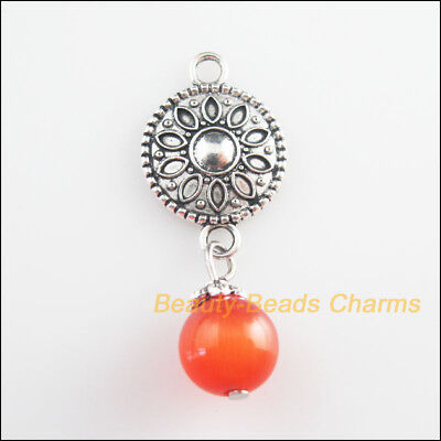 2Pcs Tibetan Silver Tone Red Cat Eye Beads Round Flower Charms Pendants 15x37mm