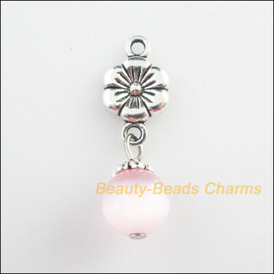 5Pcs Tibetan Silver Tone Pink Cat Eye Beads Flower Charms Pendants 10x33mm