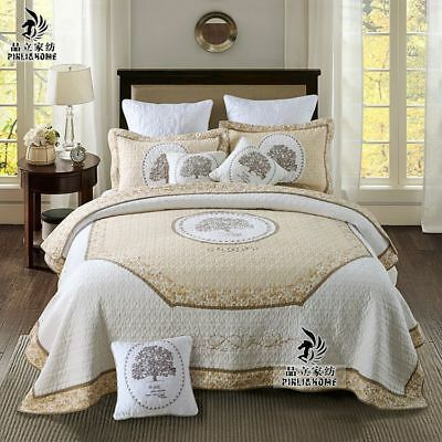Vintage Hand embroidered Cotton Quilt Coverlet Bedspread Set 3PCS QUEEN KING B