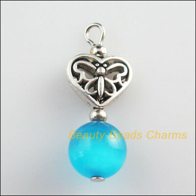 2Pcs Tibetan Silver Tone SkyBlue Cat Eye Beads Heart Charms Pendants 12x28mm
