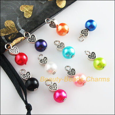 10Pcs Heart Tibetan Silver Tone Mixed Round Glass Beads Charms Pendants 8x18mm