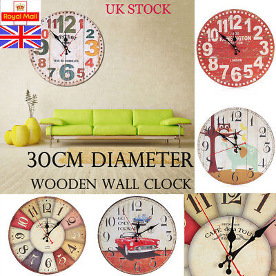 Large 30CM Vintage Wooden Wall Clock Shabby Chic Rustic Home Antique Style