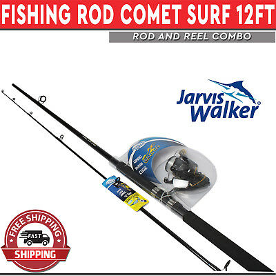 Jarvis Walker Comet Fishing Rod & Reel Combo 12ft Surf Boat Spooled with Lin