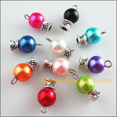 10Pcs Tibetan Silver Tone Mixed Round Glass Beads Charms Pendants 10x18mm