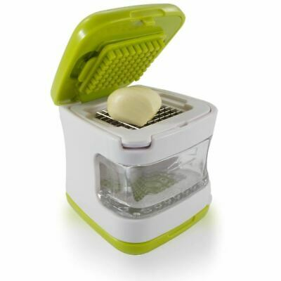 Garlic Press Stainless Steel Blades Inbuilt Clear Plastic Tray Green