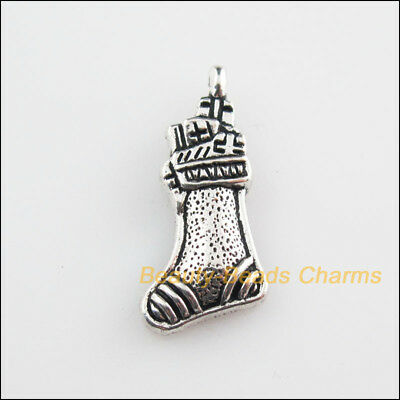 10Pcs Tibetan Silver Tone Christmas Boots Charms Pendants 11x23mm