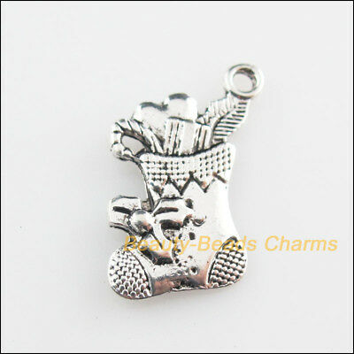 8Pcs Tibetan Silver Tone Christmas Boots Charms Pendants 14.5x20mm