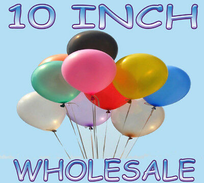 """100-1000 Party 10"""" Inch Plain Helium Quality Latex Balloons  - Pack of Wholesale"""