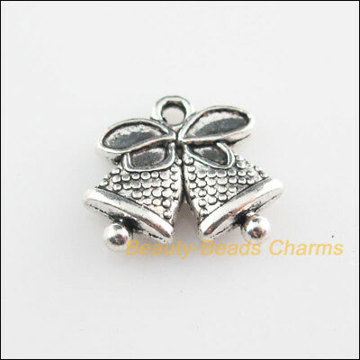 6Pcs Tibetan Silver Tone Christmas Bell Knot Charms Pendants 14x16.5mm