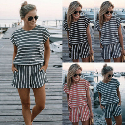 UK Women Short Sleeve Backless Playsuit Ladies Summer Beach Shorts Jumpsuit 6-16