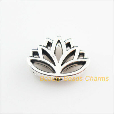 10Pcs Tibetan Silver Tone Flower Lotus Spacer Beads Charms 11x16mm