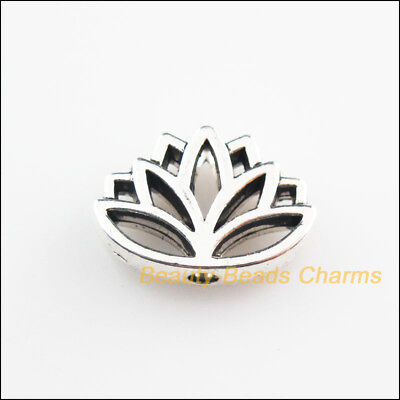 4Pcs Tibetan Silver Tone Flower Lotus Spacer Beads Charms 11x16mm