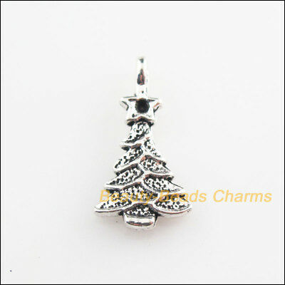 6Pcs Tibetan Silver Tone Christmas Tree Leaf Charms Pendants 11x20.5mm