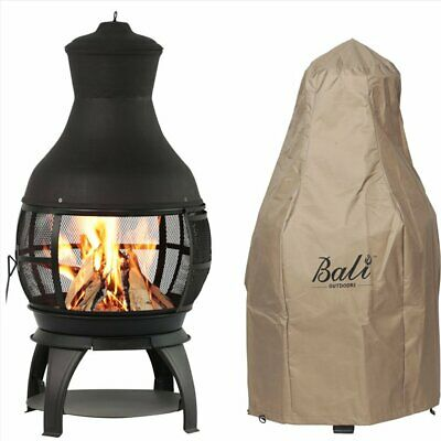 Bali Outdoor Chiminea Durable Cast Iron Wood Burning Heater Patio with cover