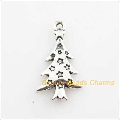 8Pcs Tibetan Silver Tone Christmas Tree Leaf Charms Pendants 14x26mm