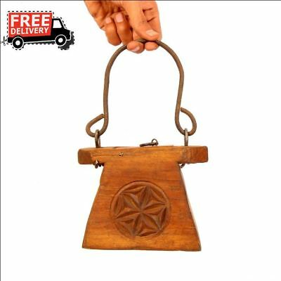 1900's Indian Antique Hand Carved Wooden Lanterns Oil Container Vintage 7068