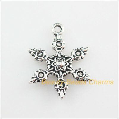 5Pcs Tibetan Silver Christmas Snowflake Flower Charms Pendants 17x23mm