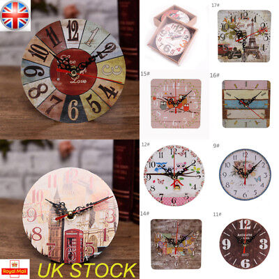 UK Wooden Table Desk Clock Decor Rustic Battery Shabby Style Home Room Decor