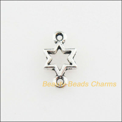 100Pcs Tibetan Silver Tone Tiny Star Charms Connectors 5.5x10mm