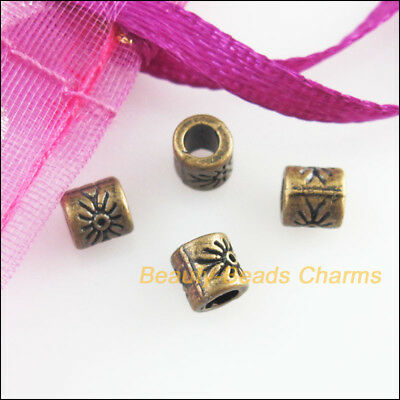 30Pcs Antiqued Bronze Tone Round Flower Tube Spacer Beads Charms 4mm