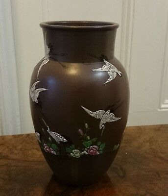 VINTAGE CHINESE EARTHENWARE VASE POT BIRDS CRANE FLOWERS HAND PAINTED c1960