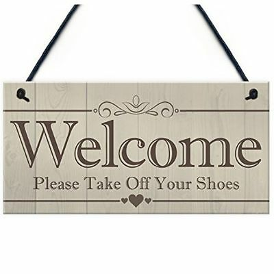 Welcome Please Take Off Your Shoes Hanging Sign House Porch Decor Gift Z1Z8