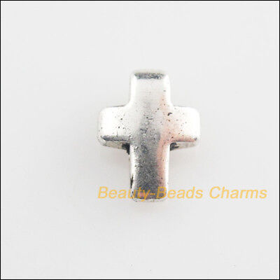 16Pcs Tibetan Silver Tone Tiny Smooth Cross Charms Pendants 8x11mm