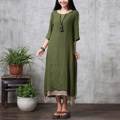 Fashion Cotton Material O Neck Half Sleeve Casual Loose Long Dress for Women