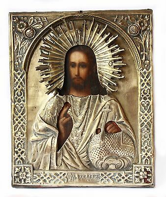 Antique 19th C Russian Hand Painted Icon (27 cm) Jesus Christ in Brass Riiza