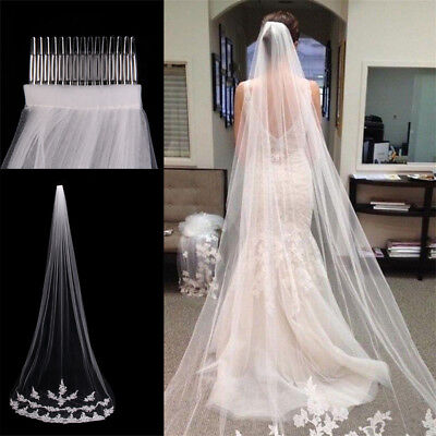 White Ivory 1T Cathedral Applique Edge Lace Bridal Wedding Veil With Comb 3M DM